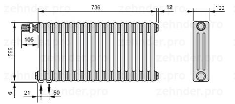 Стальной трубчатый радиатор 3-колончатый Zehnder Completto 3057/16