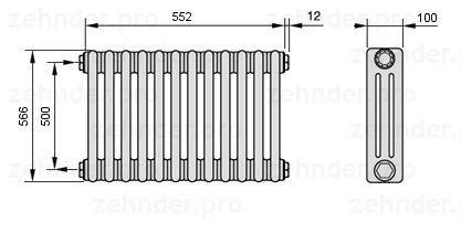 Стальной трубчатый радиатор 3-колончатый Zehnder 3180/10