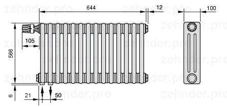 Стальной трубчатый радиатор 3-колончатый Zehnder Charleston 3057/14 TL
