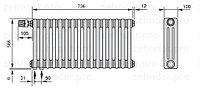 Стальной трубчатый радиатор 3-колончатый Zehnder Charleston 3057/16 TL