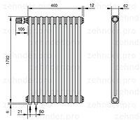 Стальной трубчатый радиатор 3-колончатый Zehnder 3180/8 Completto