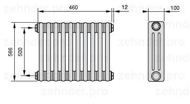 Стальной трубчатый радиатор 3-колончатый Zehnder Completto 3057/24