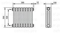 Стальной трубчатый радиатор 3-колончатый Zehnder Completto 3057/28