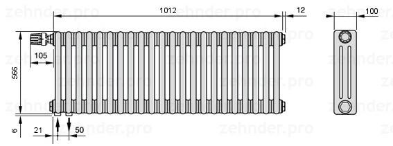 Стальной трубчатый радиатор 3-колончатый Zehnder Charleston 3057/22 TL