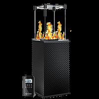 Газовый уличный обогреватель мощностью 8-10 кВт Kratki PATIO/MINI/G31/37MBAR/CZ/P черное тиснение с пультом ДУ