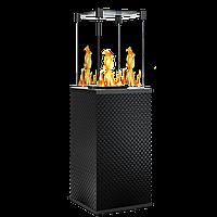 Газовый уличный обогреватель мощностью 8-10 кВт Kratki PATIO/MINI/M/G31/37MBAR/CZ/P черное тиснение с ручным