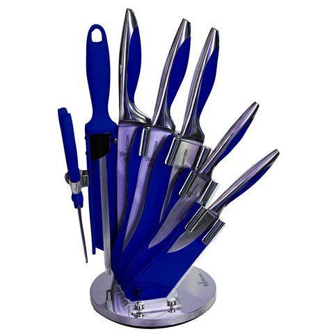 Набор стальных ножей с литыми рукоятями на подставке HATCHEN {8 предметов} (Синий)