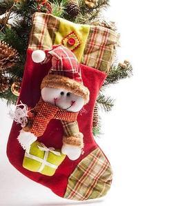 Рождественский носок для подарков со Снеговиком, красный