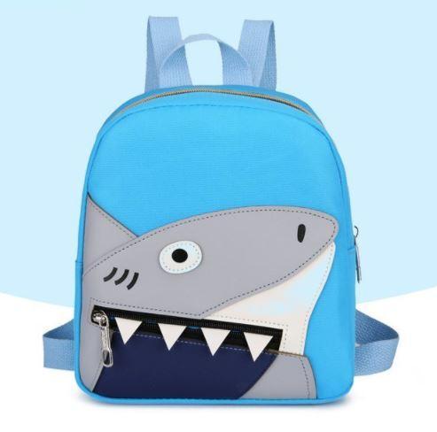 Рюкзак тканевый, с акулой, цвет голубой