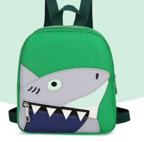 Рюкзак тканевый, с акулой, цвет зеленый