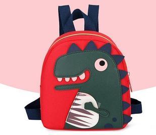 Рюкзак тканевый, с динозавром, цвет красный