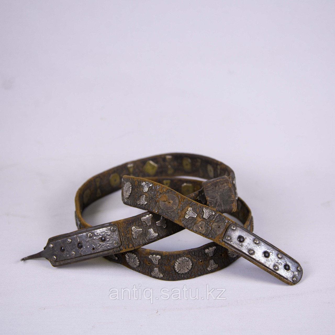 Кисе-белдик национальный Казахский охотничий пояс. Кожа, шитье, металл, ковка, серебро, насечка серебро - фото 1