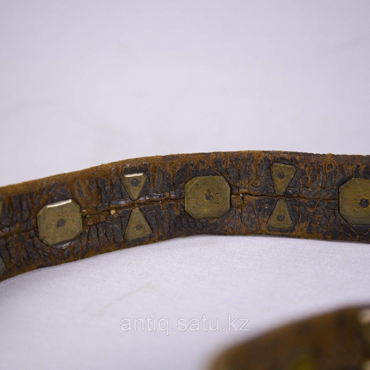 Кисе-белдик национальный Казахский охотничий пояс. Кожа, шитье, металл, ковка, серебро, насечка серебро - фото 6