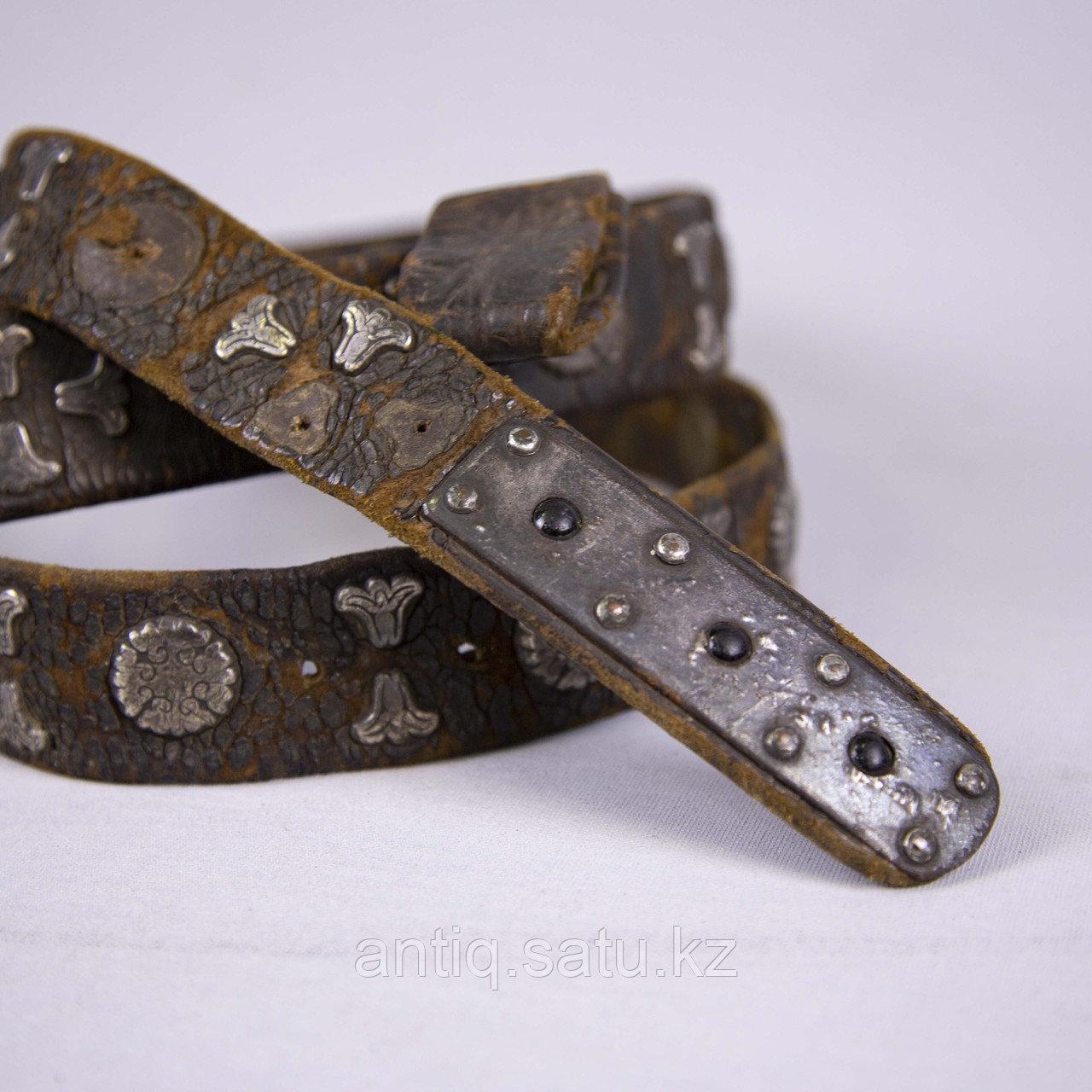Кисе-белдик национальный Казахский охотничий пояс. Кожа, шитье, металл, ковка, серебро, насечка серебро - фото 5