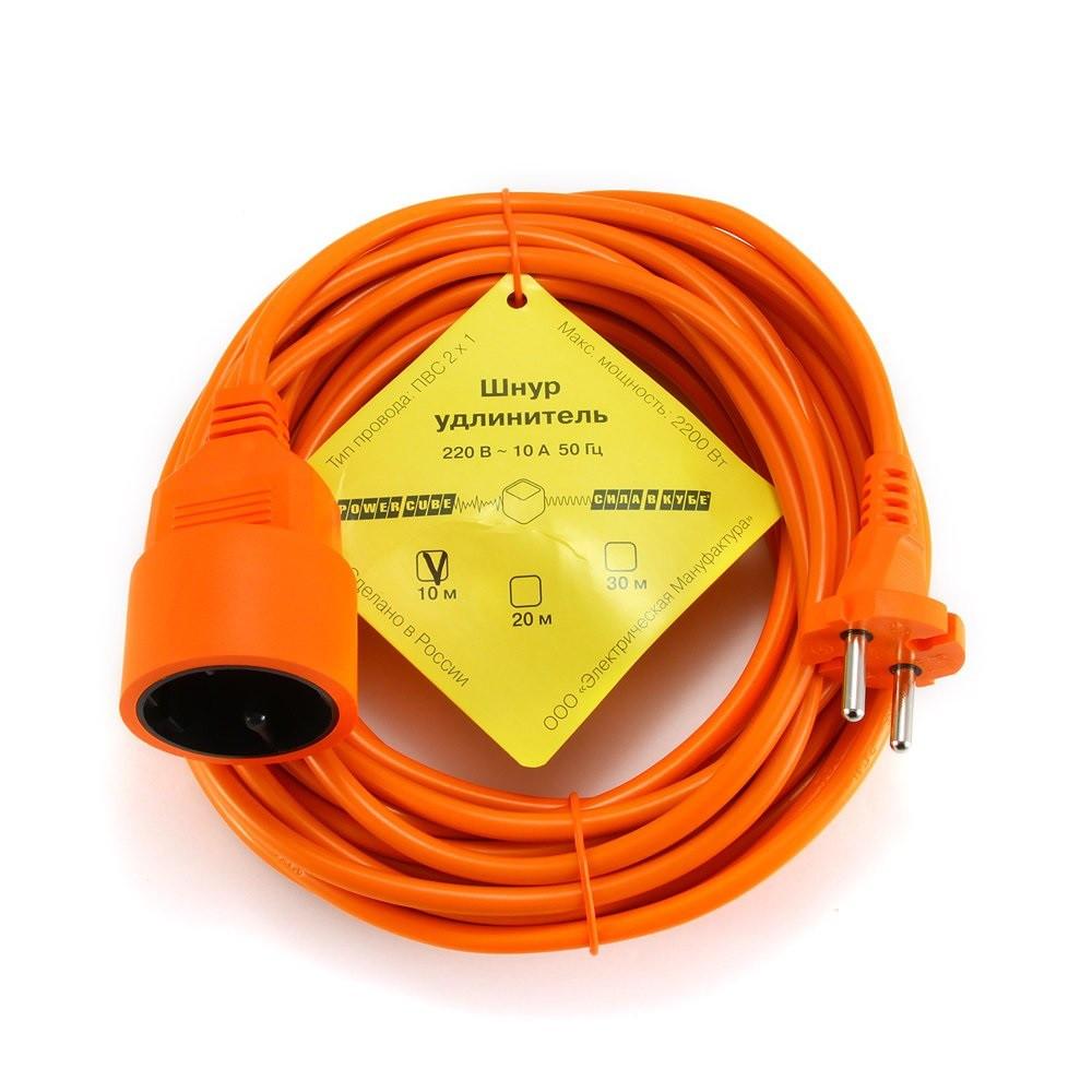 Силовой удлинитель в бухте Power Cube PC-L1-B-10, 10 А/2,2 кВт, 10 м, 1 розетка б/з, оранжевый
