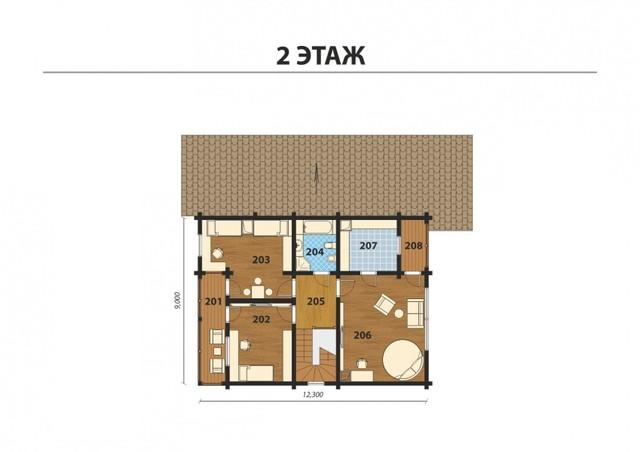 Проект двухэтажного дома из профилированного бруса с двумя террасами, план двухэтажного дома и строительство под ключ, проектирование и строительство деревянных домов.