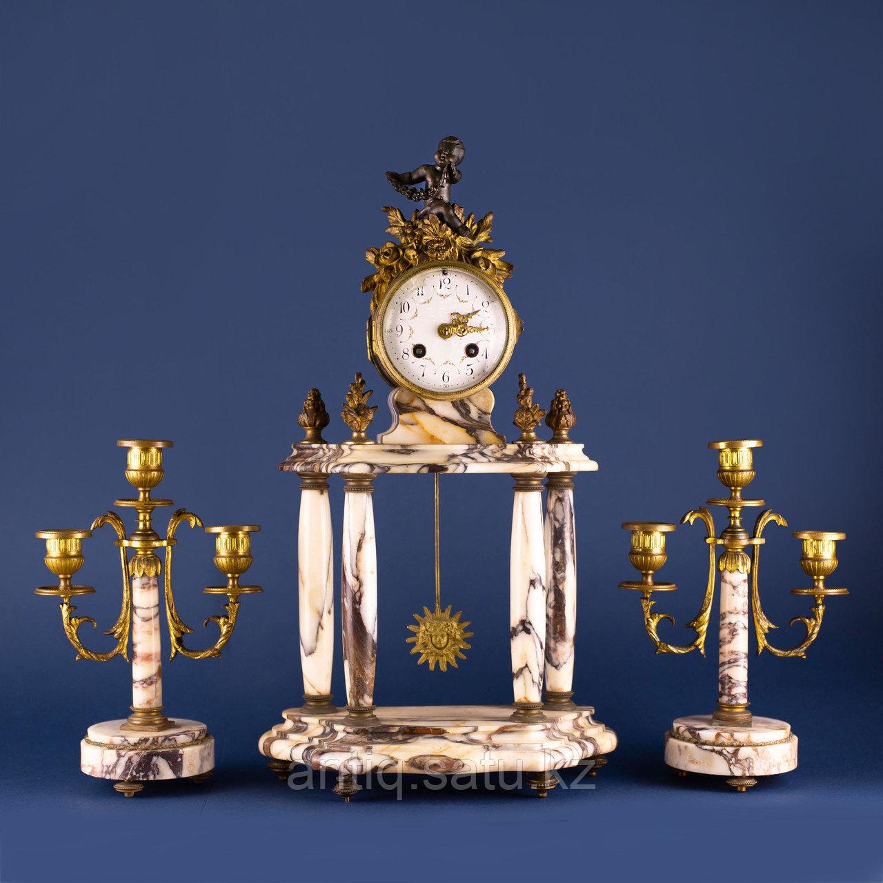 Кабинетный часовой гарнитур в стиле Людовика XVI Франция. II половина XIX века - фото 1