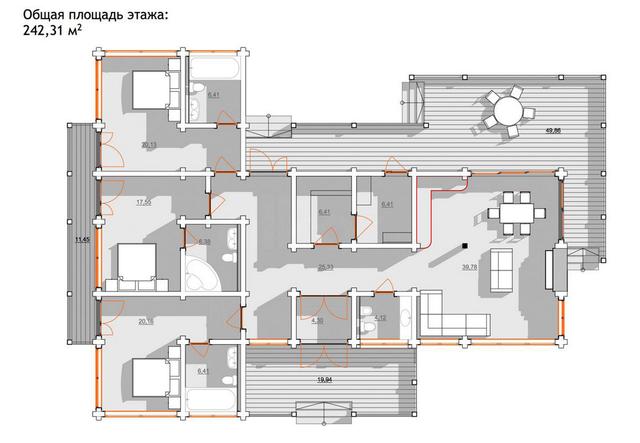 Проект одноэтажного дома из бруса, план 1-этажного дома и строительство под ключ, проектирование и строительство деревянных домов.