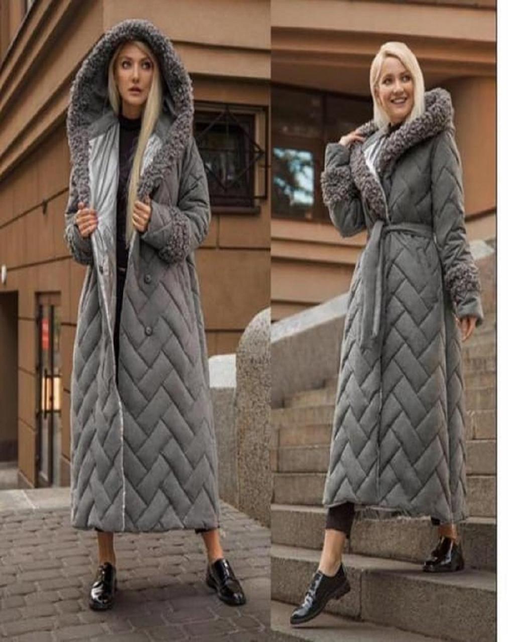 Утеплённое простеганное пальто (36-46)