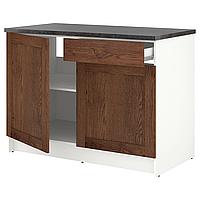 Напольный шкаф с дверцами и ящиком,КНОКСХУЛЬТ под коричневый мореный ясень120 см ИКЕА, IKEA