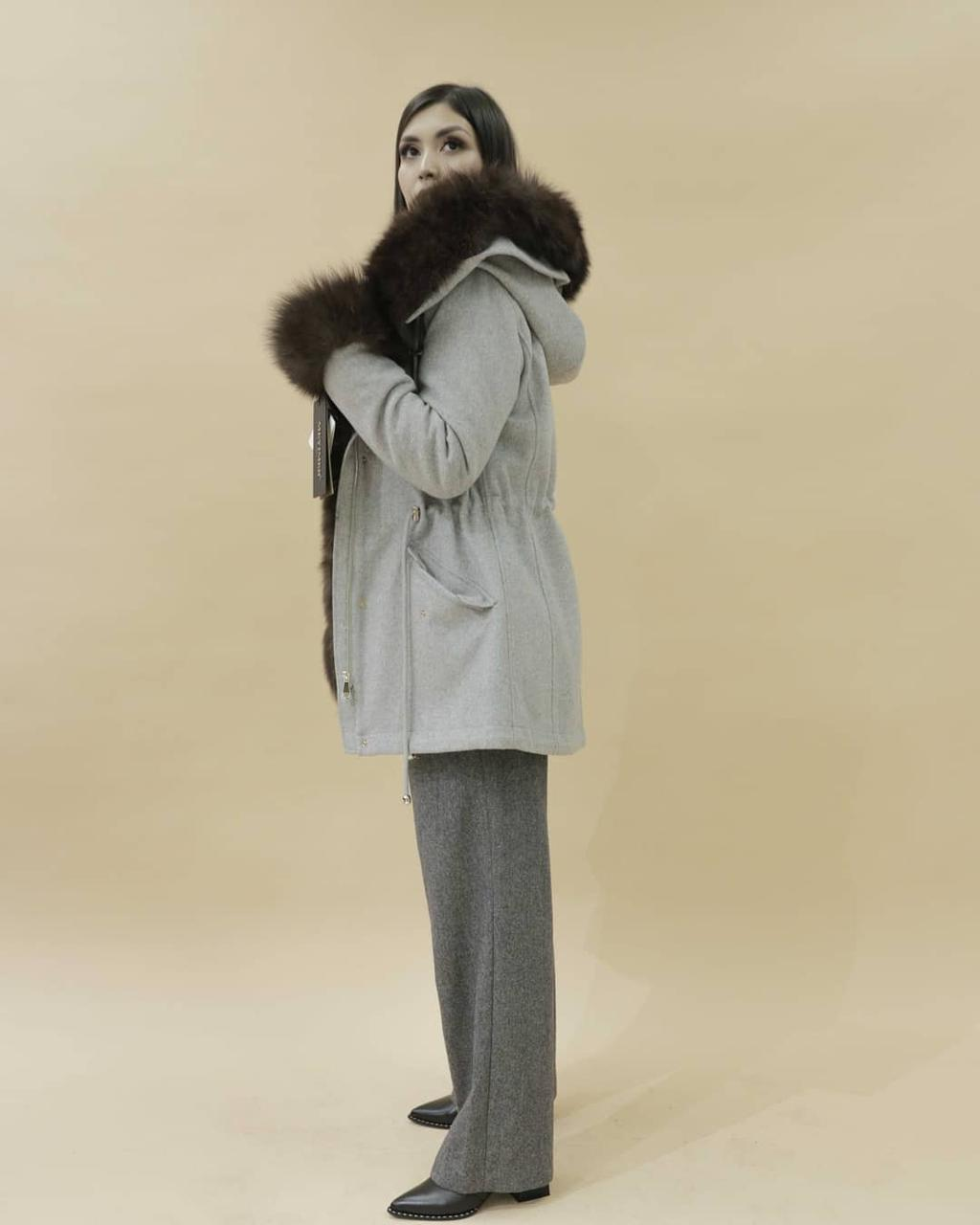 Женская пальто-парка (куница)