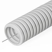 Труба ПВХ гибкая гофрированная д.20мм, лёгкая с протяжкой, 100м, цвет серый. Бренд ДКС, DKC