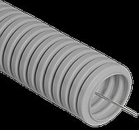 Труба ПВХ гибкая гофрированная д.25мм, лёгкая с протяжкой, 50м, цвет серый. Бренд ДКС, DKC