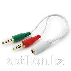 Кабель аудио сигнала Cablexpert CCA-418, джек3.5 нуш (F) + 3.5 микр (F)-> джек3.5 4pin (M) белый