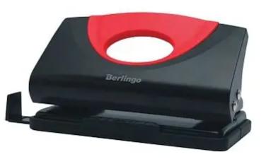 """Дырокол Berlingo """"Office Soft"""" до 10 листов, пластиковый, с линейкой, красный"""