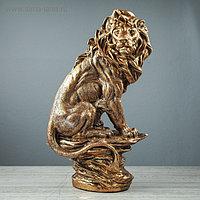 """Статуэтка """"Сидящий лев"""", бронзовый цвет, 42 см"""