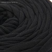 Пряжа трикотажная широкая 50м/160гр, ширина нити 7-9 мм (190 черный)