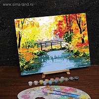 "Роспись по номерам без подрамника ""Осенний мост"", 30 х 40 см"