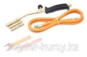 ROCKFORCE Горелка газовая для пайки в наборе с насадками и гибким шлангом(насадки-13,14,17мм; L шланга-1.5м) в