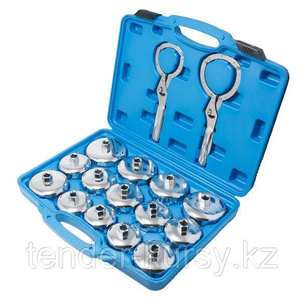 """Forsage Набор съёмников масляных фильтров """"крышек"""" в комплекте с двумя самозажимными ключами 16 предметов, в"""