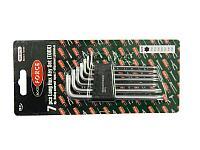 ROCKFORCE Набор ключей TORX Г-образных длинных, 7 предметов (Т10,Т15,Т20,Т25,Т27,Т30,Т40) в пластиковом