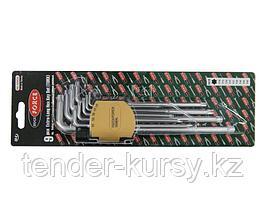 ROCKFORCE Набор ключей TORX Г-образных экстра длинных, 9 предметов (Т10, Т15, Т20, Т25, Т27, Т30, Т40, Т45,