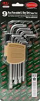 ROCKFORCE Набор ключей Г-образных TORX 5-лучевых, 9 предметов(TS10, TS15, TS20, TS25, TS27, TS30, TS40, TS45,