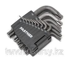Partner Набор ключей торкс Г-образных  усиленных 15 предметов(T10-T50) в пластиковом держателе Partner PA-615
