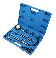ROCKFORCE Тестер компрессии дизельного двигателя в наборе с резьбовыми адаптерами,  (0-70 bar),19 предметовв