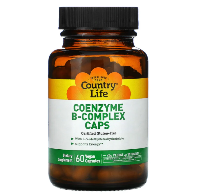 Country Life, комплекс коэнзимов группы B, 60 вегетарианских капсул