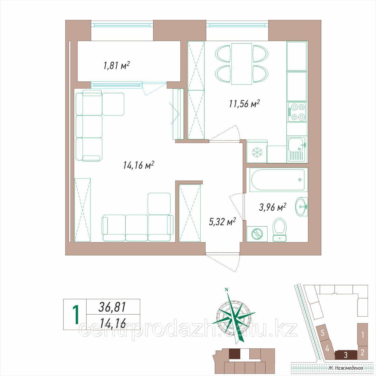 1 комнатная квартира 36.81 м²