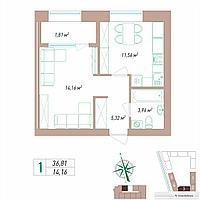 1 комнатная квартира 36.81 м², фото 1