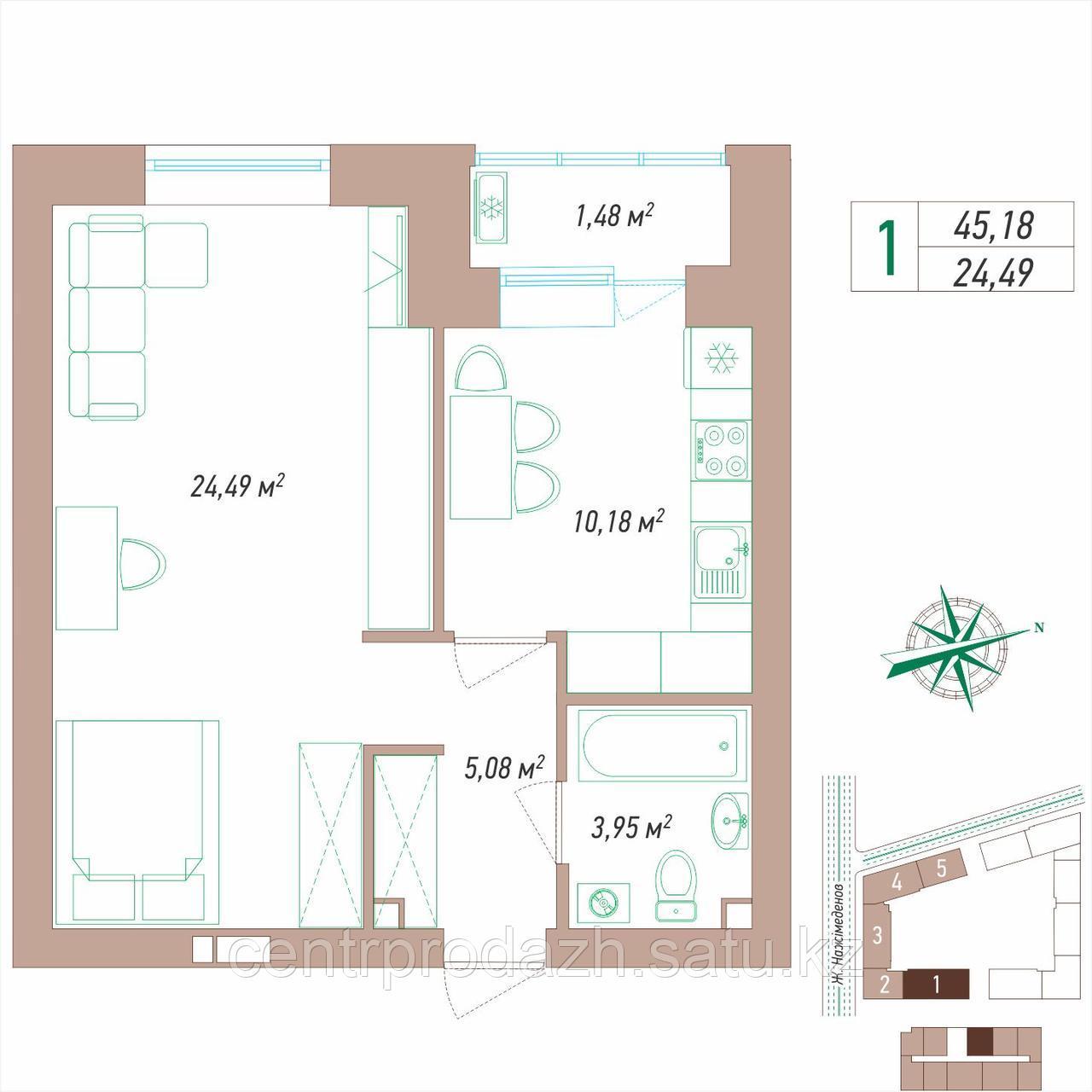 1 комнатная квартира 45.18 м²
