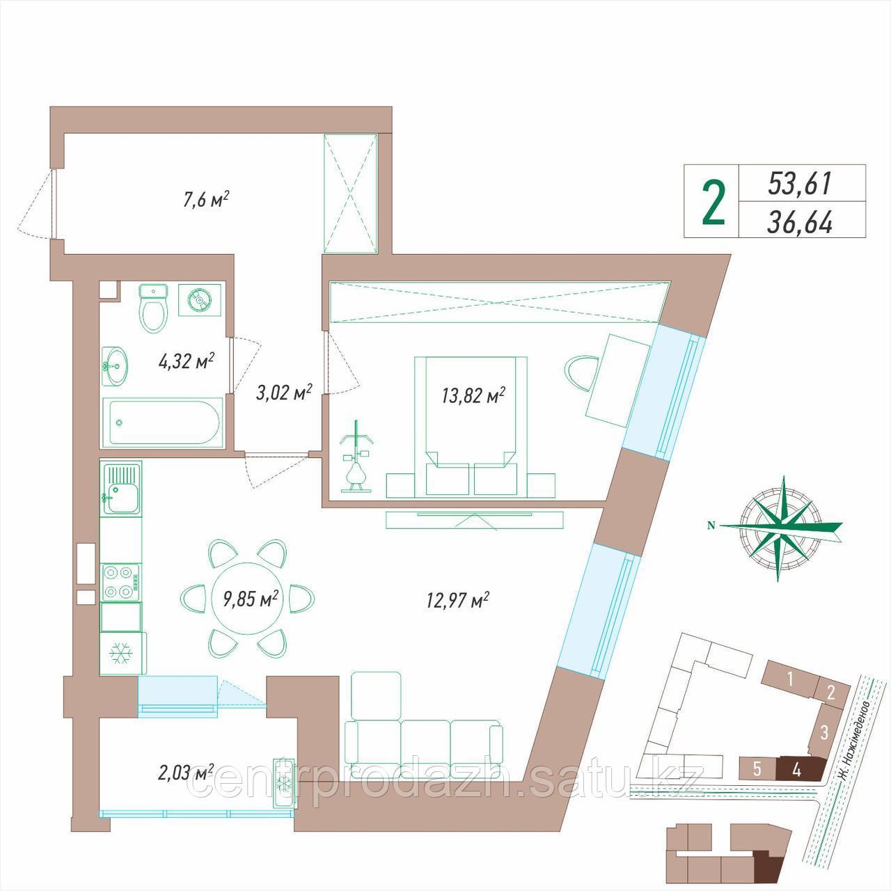 2 комнатная квартира 53.61 м²