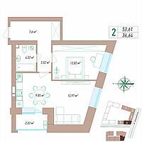 2 комнатная квартира 53.61 м², фото 1