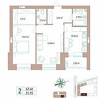 2 комнатная квартира 62.46 м²
