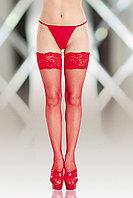 Чулки-сетка (c силик. полосками) SoftLine Collection, красный, L