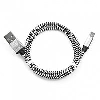 Кабель USB 2.0 Cablexpert CC-mUSB2sr1m, USB-MicroUSB, 1м, нейлоновая оплетка, алюм разъемы, серебри