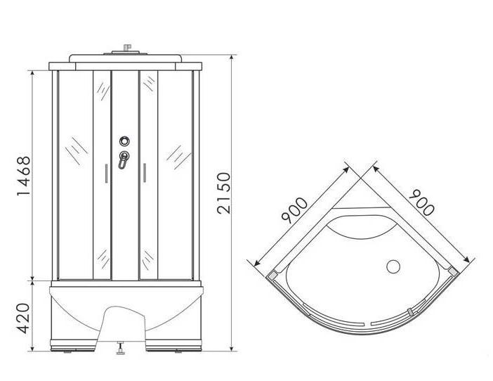 ERLIT душевая кабина ER3509TP-C4 900*900*2150 высокий (СЕРЫЙ ПОДДОН), тонированное стекло - фото 2