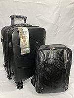 Маленький пластиковый дорожный чемодан на 4-х колесах, в комплекте с рюкзаком., фото 1